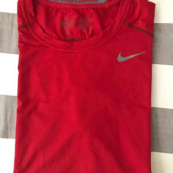 d2eb48f92 Nike Shirts | Pro Combat Core Compression Short Sleeve Red | Poshmark